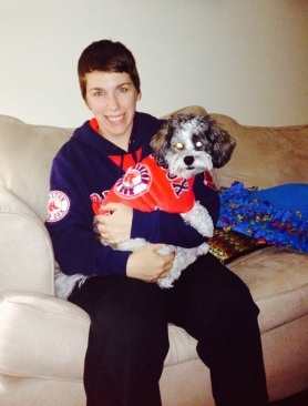 Our puppy, Sam Adams shouting out his team!